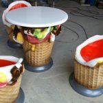 Dondurma Desenli Masa Ve Sandalyeler